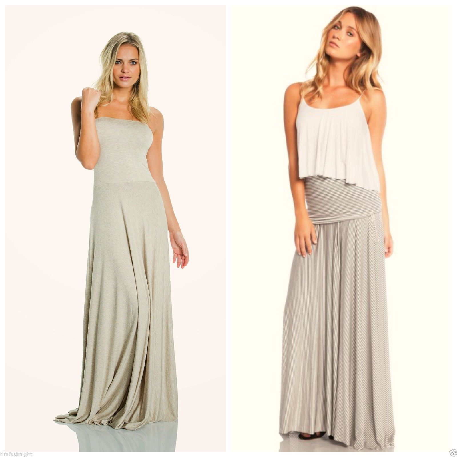 b7419adacb Elan USA Strapless Maxi Dress Convertible Maxi Skirt Heather Oatmeal s M L   78