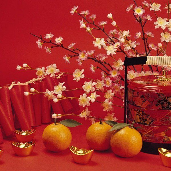 Good Chinese New Year Decoration Ideas For Home Part - 6: Beautiful Traditional Chinese New Year Home Decoration Ideas Fresh Blossoms  Money Firecrakers