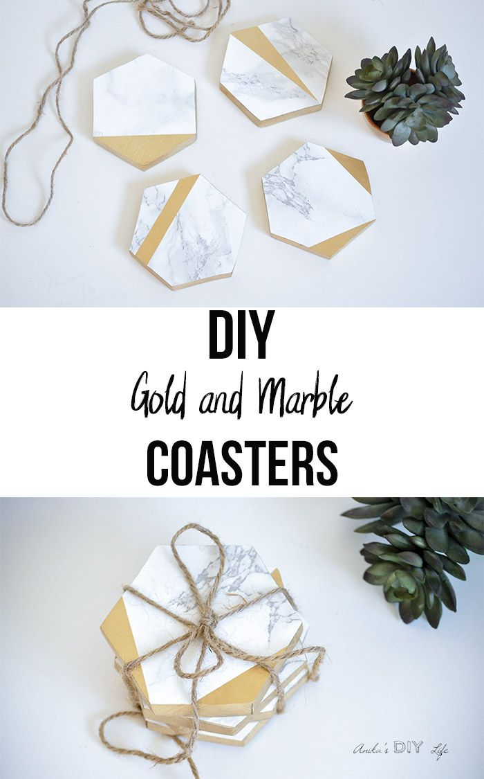 How to make diy hexagonal marble and gold coasters contact paper