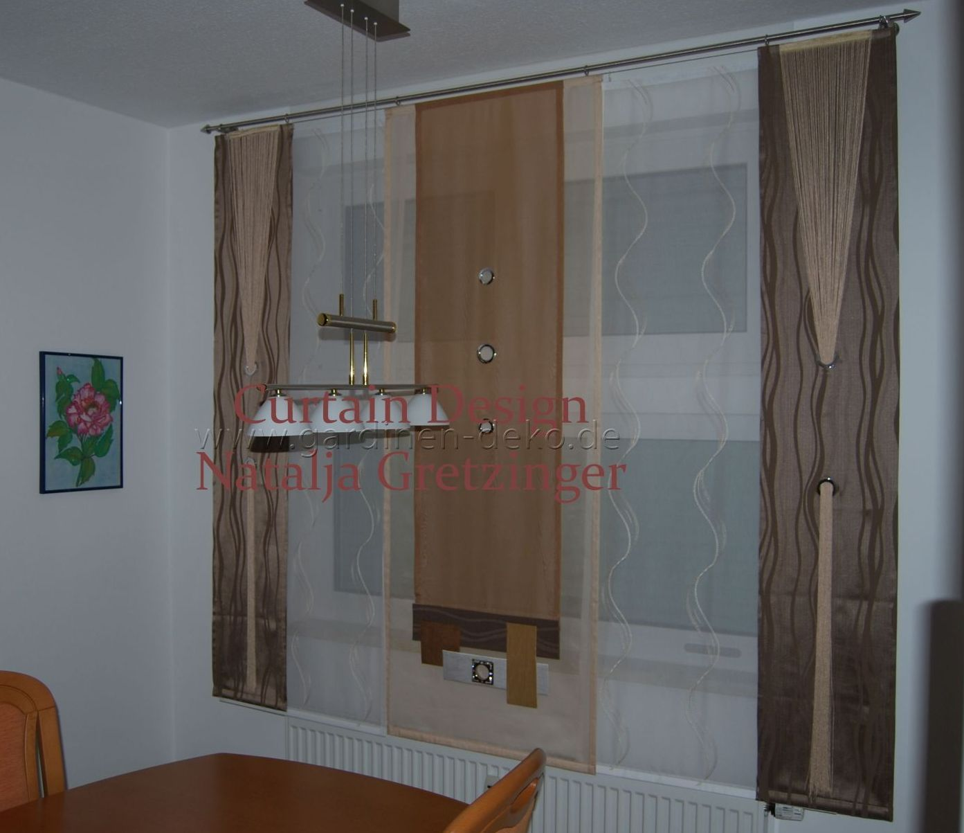 dekorativer schiebevorhang mit sen und seitenschals. Black Bedroom Furniture Sets. Home Design Ideas