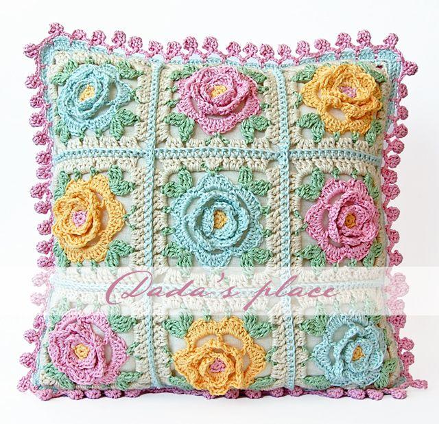 Japanese Flower Crochet Afghan Pattern : Japanese Flower Crochet Cushion Crochet cushions ...