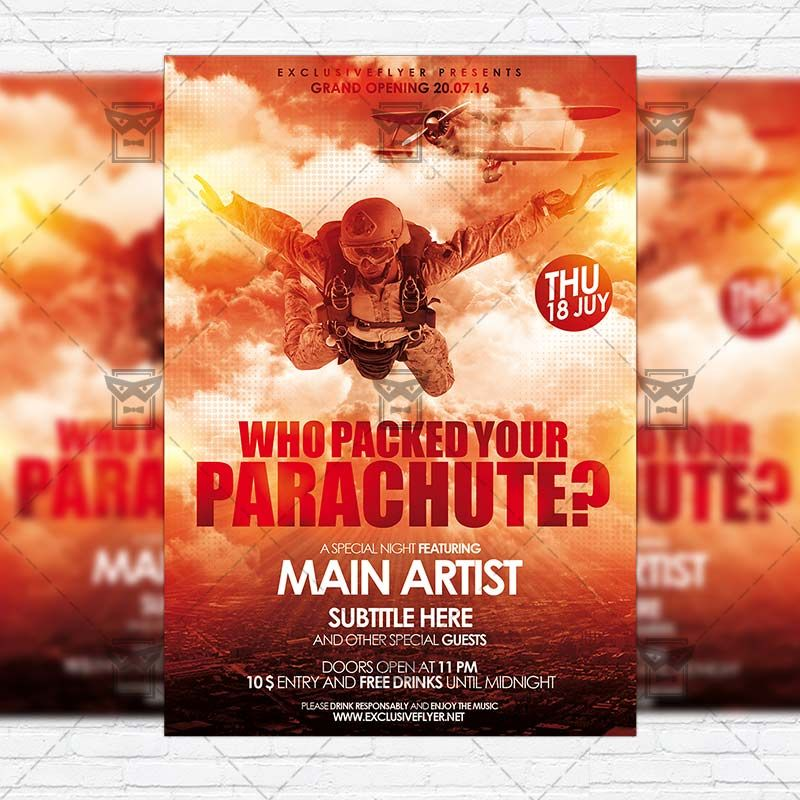 Who Packed Your Parachute Premium Flyer Template Instagram Size