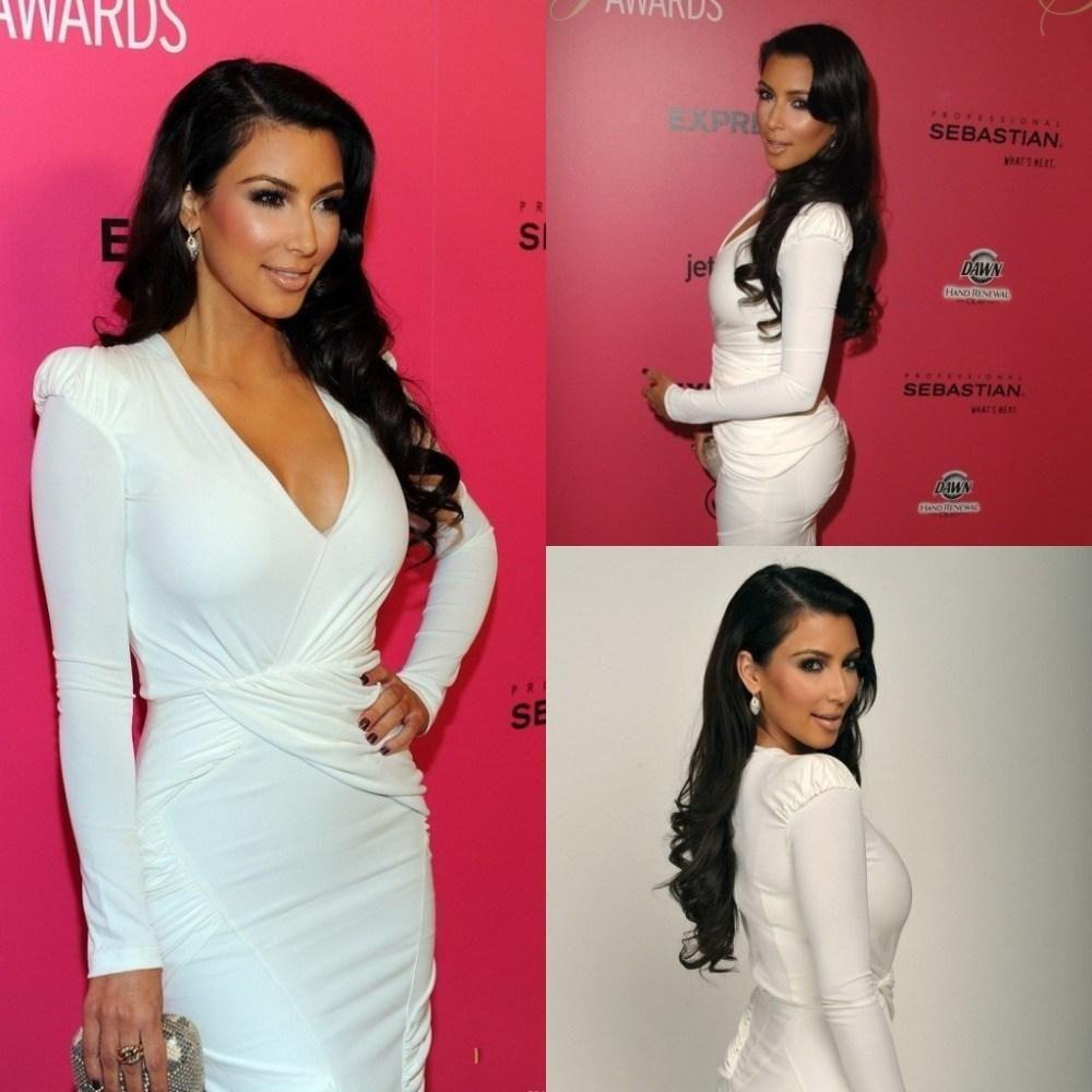 2014 Kim Kardashian Sexy White Sheath Cocktail Dresses Vestido V ...