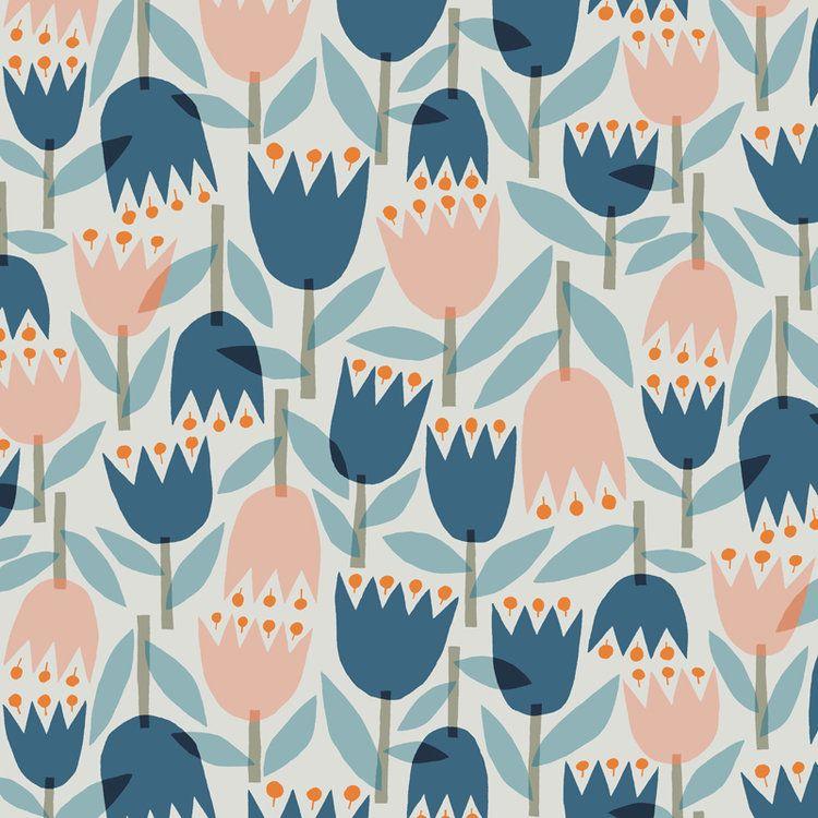 Flowers Ferns Leaves Nancy Wolff Fruit Wallpaper Pattern