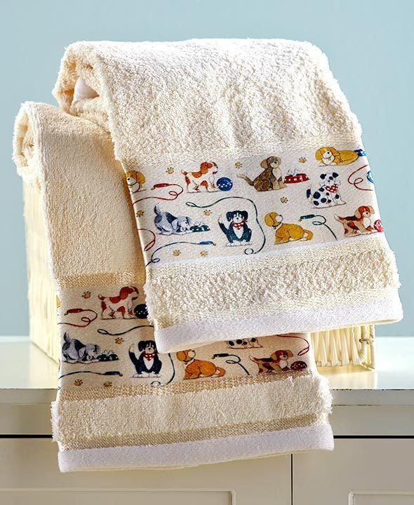 Dog Hand Towels Bath Playing Puppies