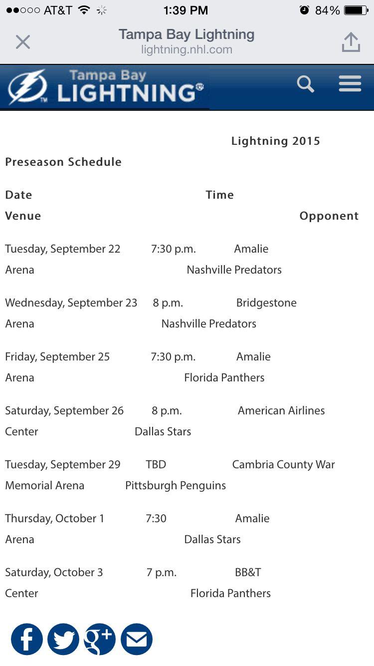 Preseason Schedule Announced Preseason Schedule Tampa Bay Lightning Team Player