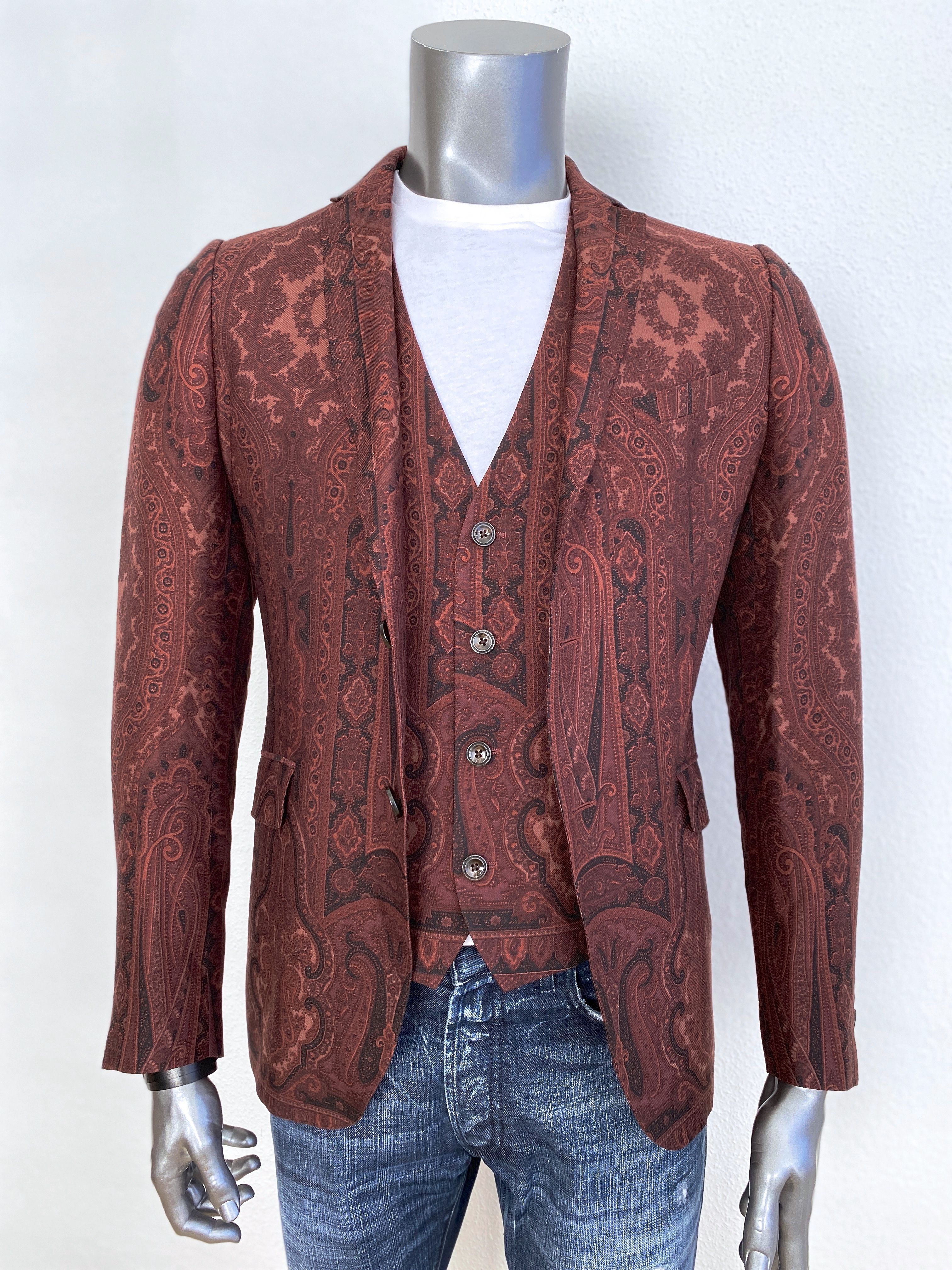 Etro Slim Fit Jacket with Vest Multiple Print available
