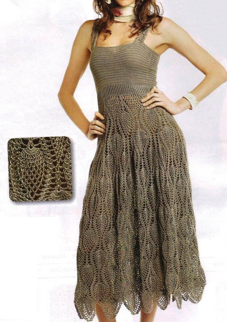 Patrones Crochet, Manualidades y Reciclado: Patrón de Vestido con ...