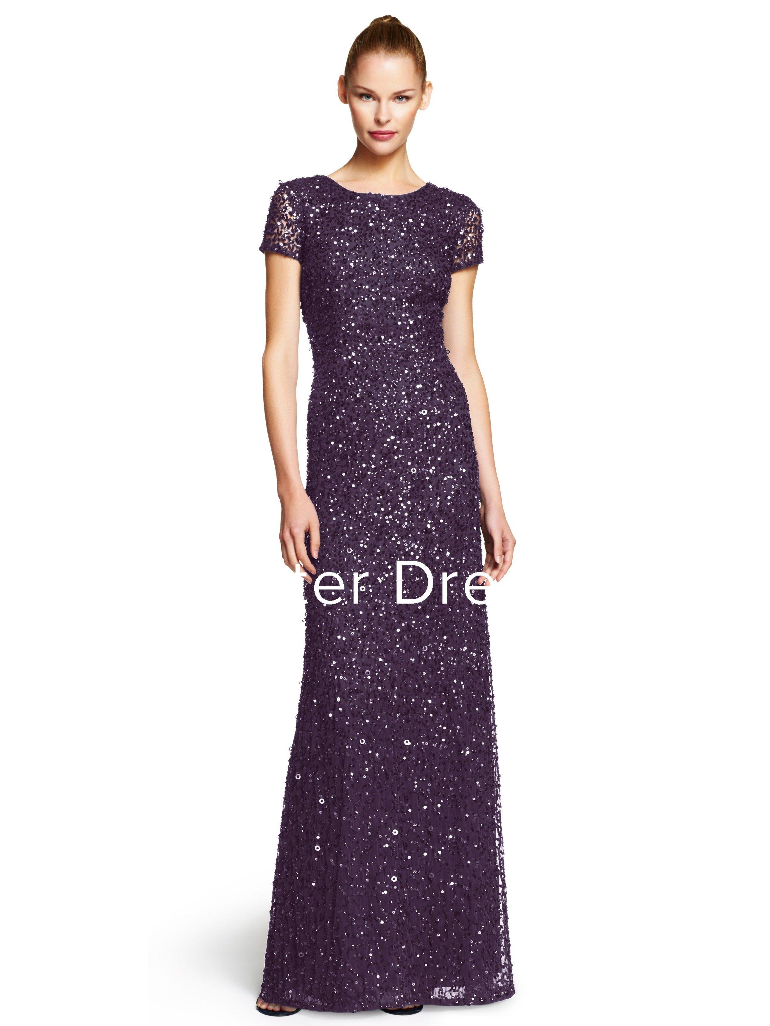 Sheath scoopneck shortsleeve sequins bridesmaid dress pinterest