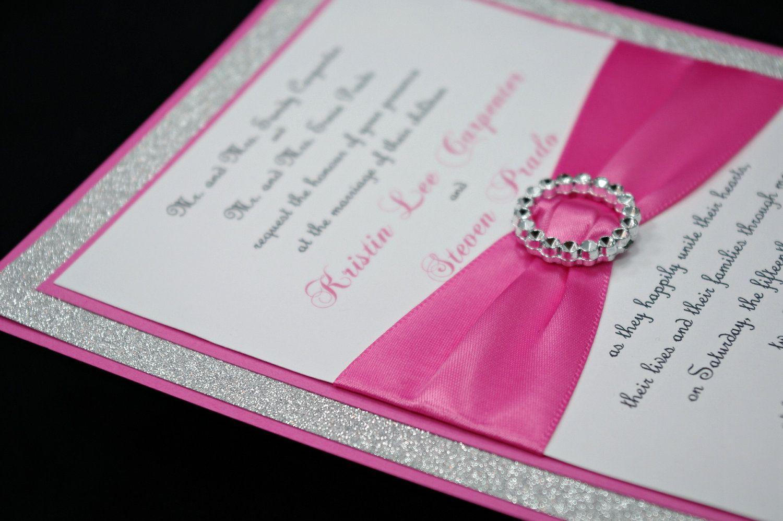 DIY Stunning Pink & Silver Glitter Wedding by InviteBling on Etsy ...