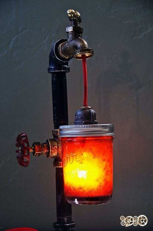 metal boru musluklu kizil masa lambasi m metal pipe fitting edison bulb lamp demir. Black Bedroom Furniture Sets. Home Design Ideas