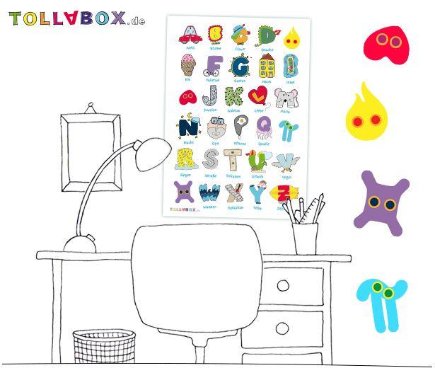 Ihr seid auf der Suche nach etwas Buntem um das Kinderzimmer eurer Kleinen ein wenig aufzupeppen? Oder den Schreibtisch, an dem täglich die Hausaufgaben gemacht werden? Dann haben wir hier genau das Richtige für euch - Das Tolla-ABC.