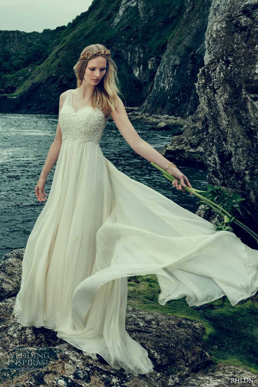 163dd4ed9f93 bhldn fall 2016 bridal sleeveless illusion v neck sweetheart neckline  heavily embellished bodice romantic a line wedding dress v back sweep train  (ostara) ...