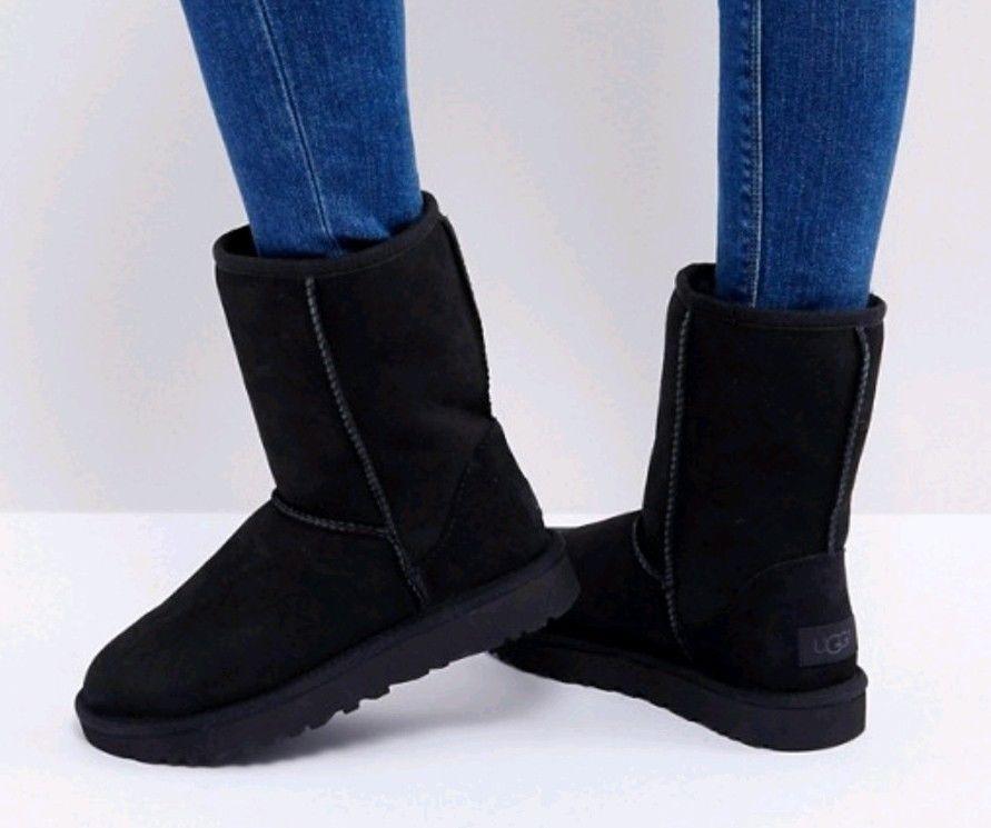 9246f752fbd New UGG Australia Classic Short Black Suede Boots Flawed 7 #fashion ...