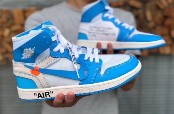 2acba0098fd2 A Full Look At The Upcoming OFF-WHITE x Air Jordan 1 Powder Blue (UNC)