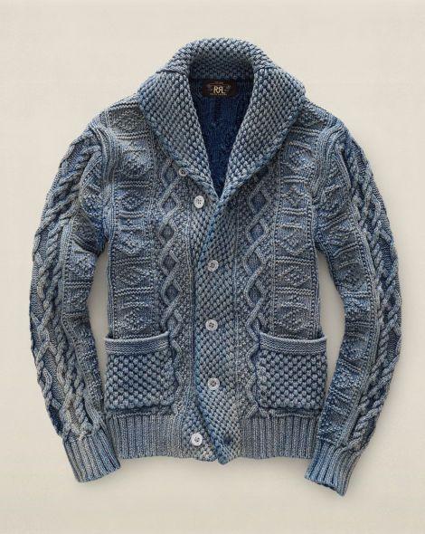 Indigo Cotton Shawl Cardigan - RRL Cardigan   Full-Zip - RalphLauren ... 8c93fa4bb3