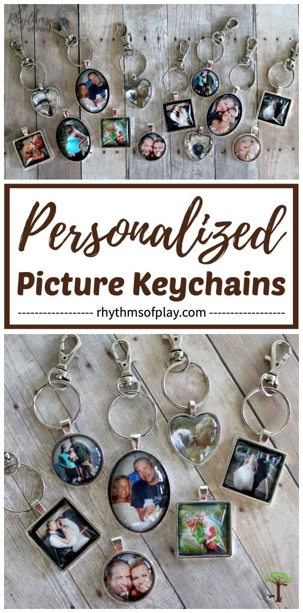 Personalized Picture Keychains! These photo charms are an easy homemade craft and they make a great gift! They're perfect for Mother's Day, Father's Day, Valentine's Day, Christmas, an anniversary, birthday, or wedding favor! Use this tutorial to create unique, handmade, keepsake gifts that parents, grandparents and loved ones will treasure! | #HomemadeGift #MothersDayGift #FathersDayGift #DIYGift #HandmadeGift