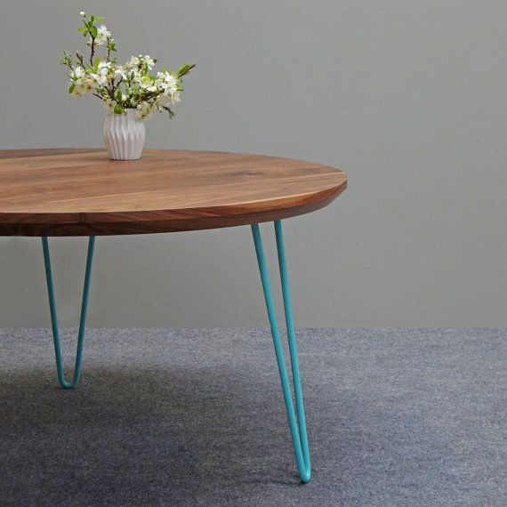 Round solid walnut Mid Century Coffee Table with hairpin legs Ideal for creating a minimal For Your Plan - Cool Where to Buy Hairpin Legs Photos
