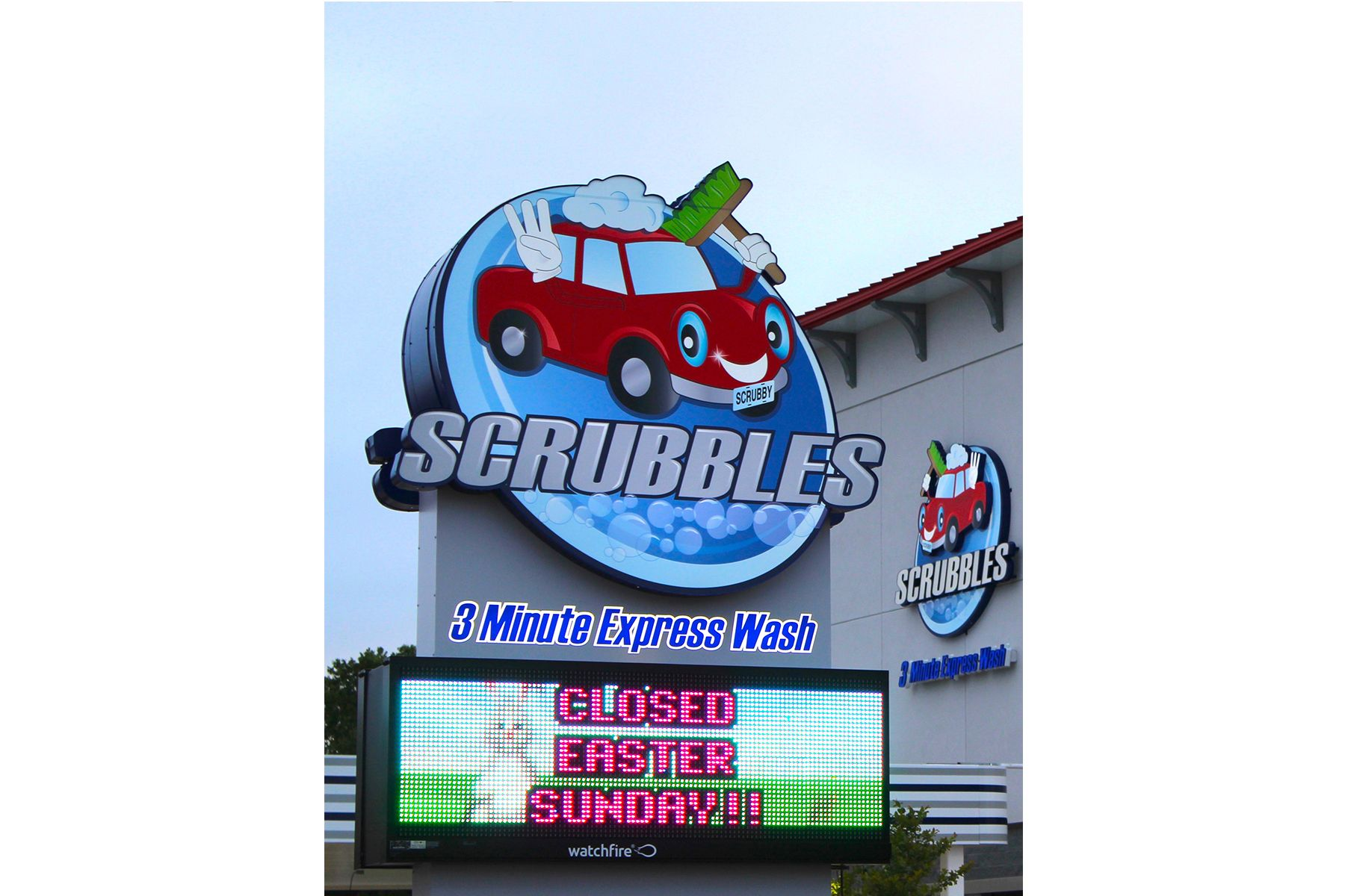 Scrubbles Car Wash Pylon Entry Sign With Electron Message Center Custom Business Signs Entry Signs Business Signs