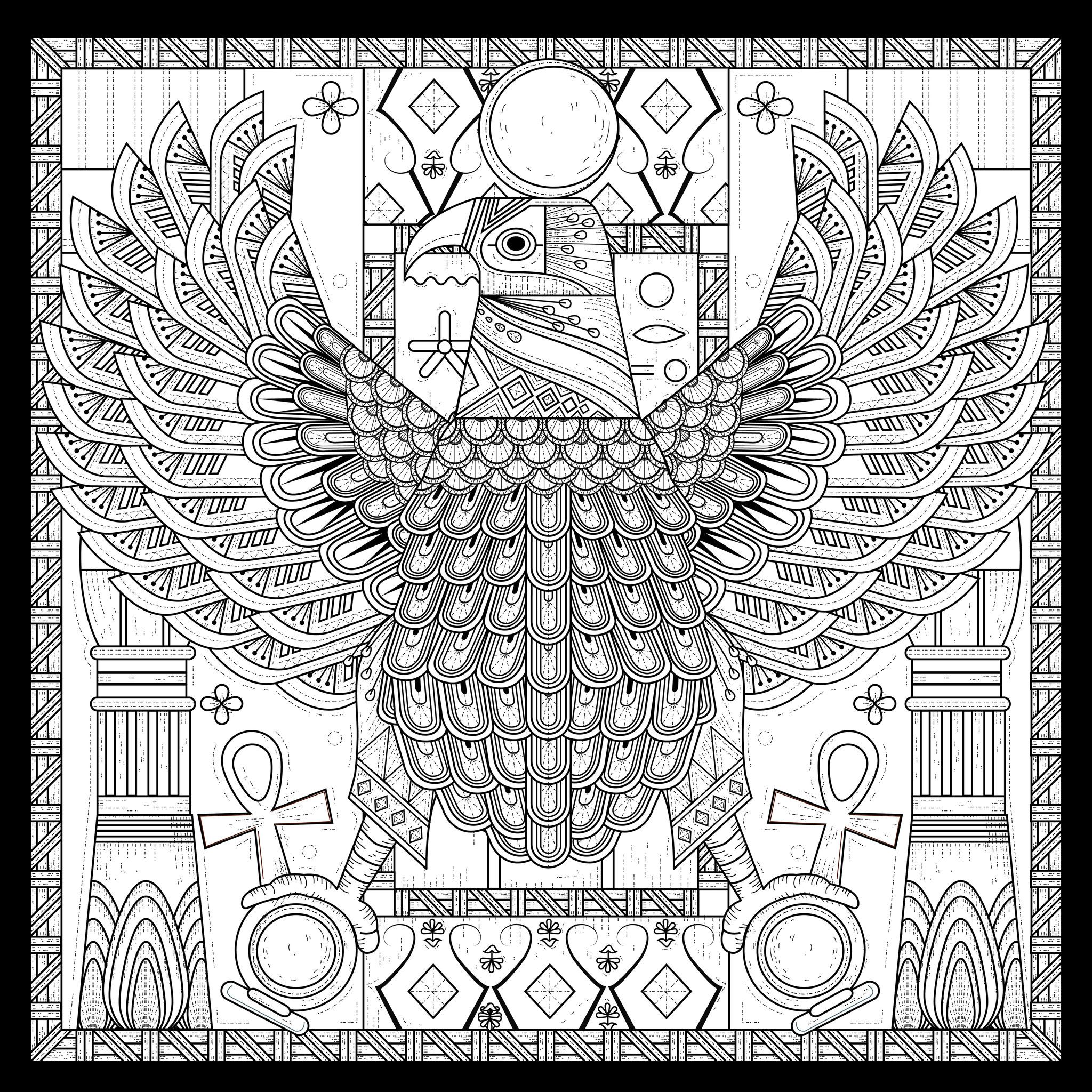 free coloring page coloringadultegypteagleegyptian