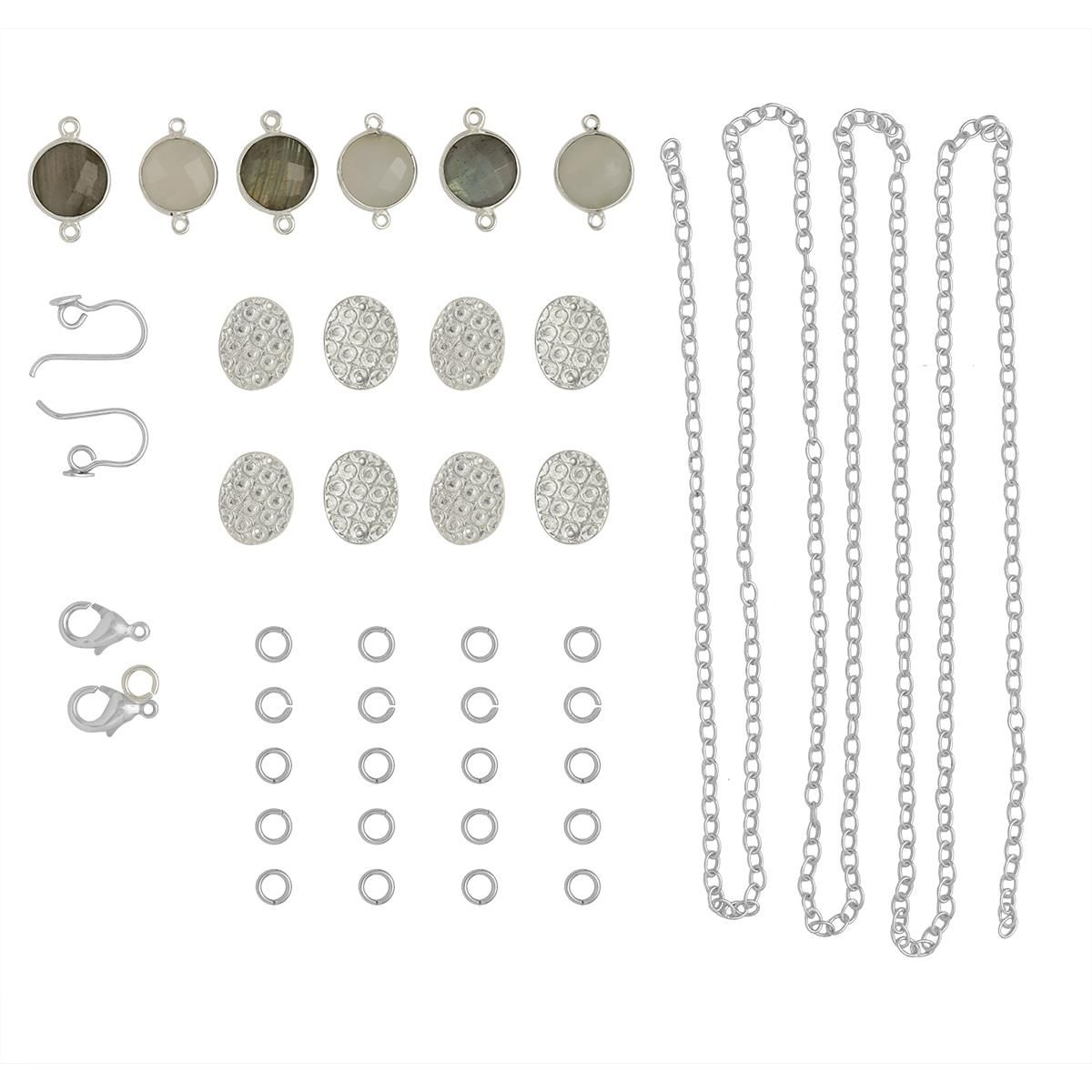 Silver Plated Copper Finding Kit Inc 20cts Labradorite