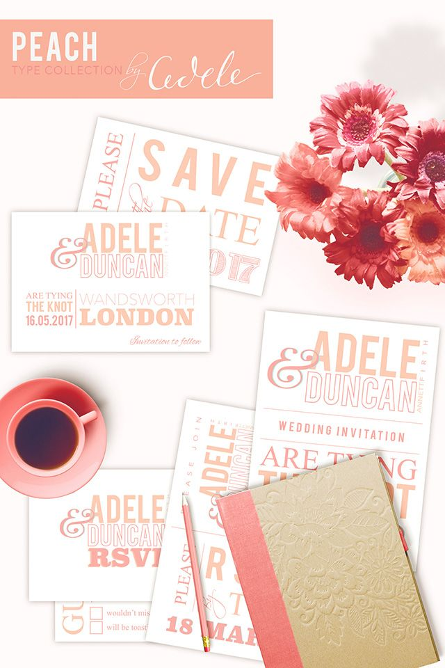 Beautiful Peach Type wedding stationery. Fully personalised wedding invitations, save the date cards, rsvp cards, table stationery and thank you cards. http://www.adeleweddingphotography.co.uk/type-peach-wedding-stationery.html
