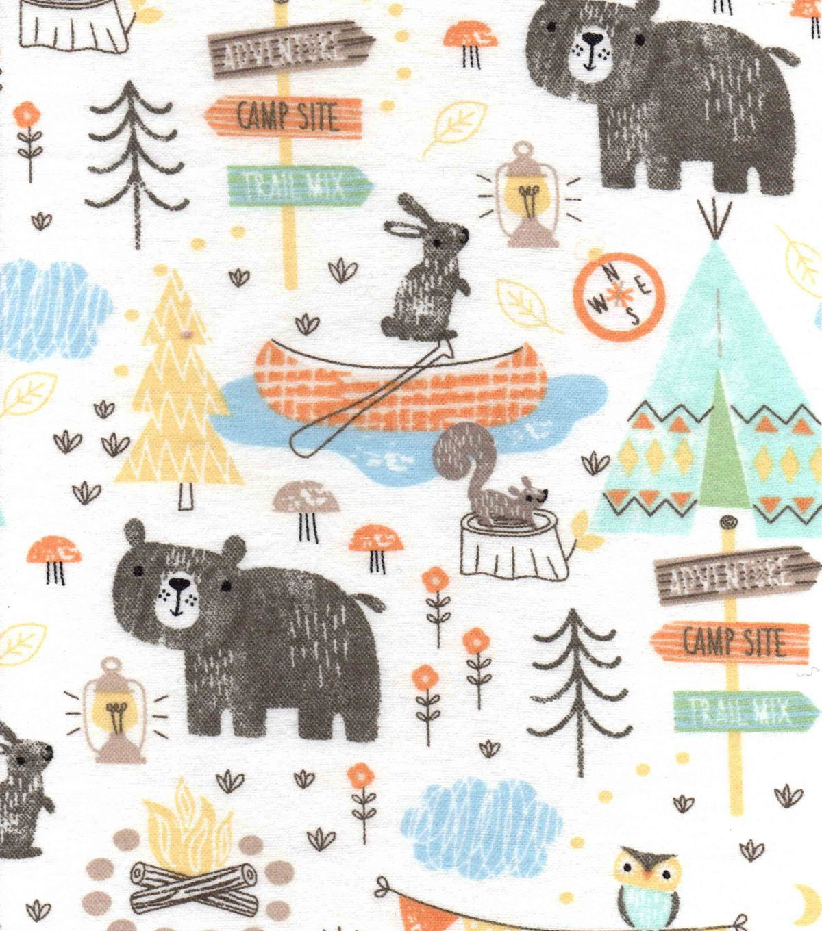 Snuggle Flannel Fabric Camping Mix Camping Fabric Flannel Fabric Camping Quilt