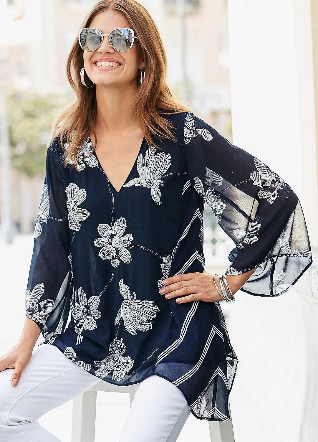 cd7ce867e14 Woven floral & stripe print mix tunic with stunning sequin embellishment to  the front and sleeves.