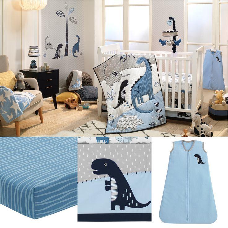 Baby Dino Blue/White Dinosaur Nursery 6-Piece Crib Bedding ...