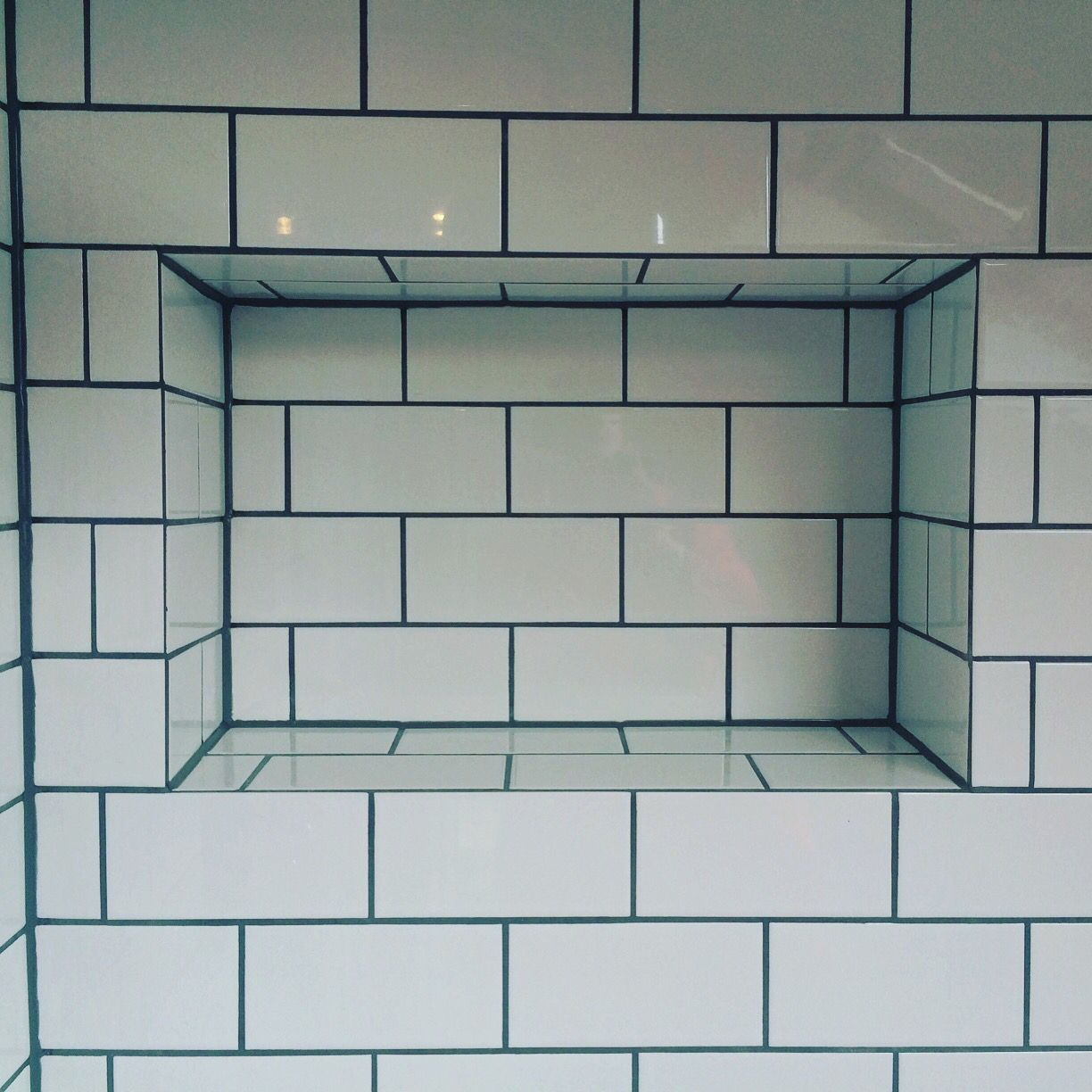 Mitred Metro Tiles Around The Recessed Shelf In The Shower Always