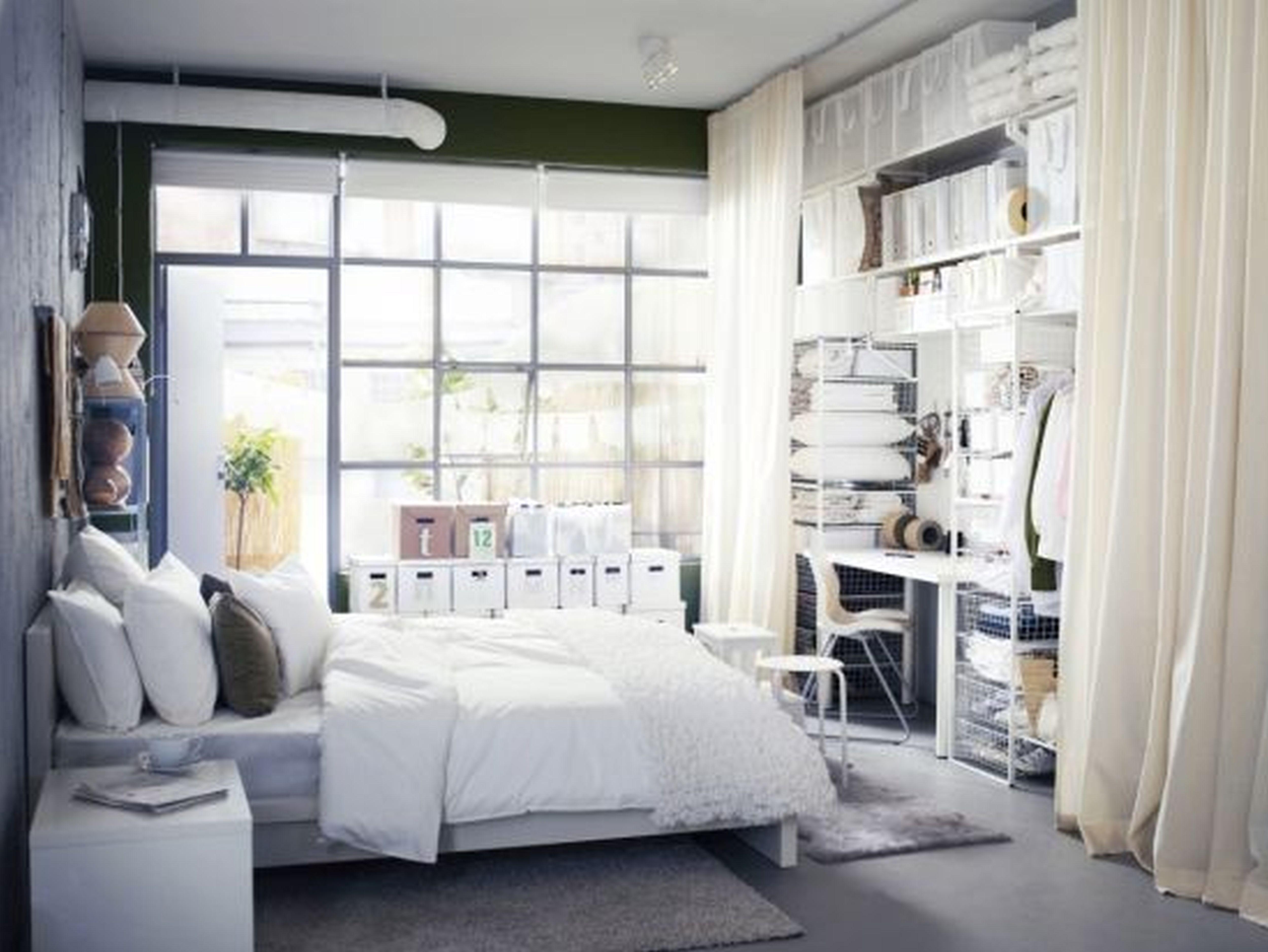 Furniture Bedroom Breathtaking Small Space Ikea Bedroom Closet Design With Gorgeous White Wood Be Kamar Tidur Minimalis Interior Kamar Tidur Dekorasi Apartemen
