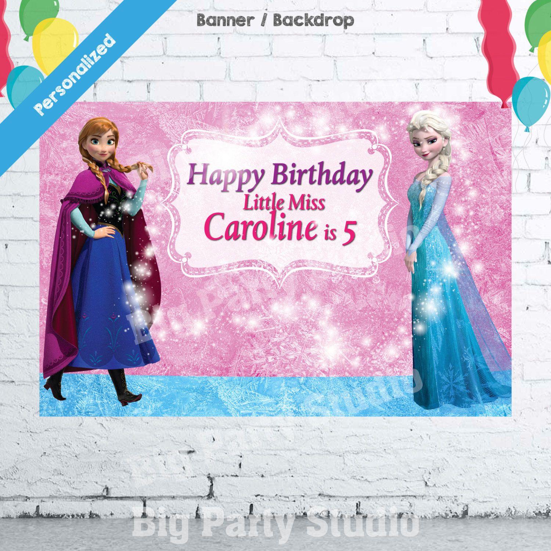 Frozen Happy Birthday Backdrop, Frozen Banner, Frozen