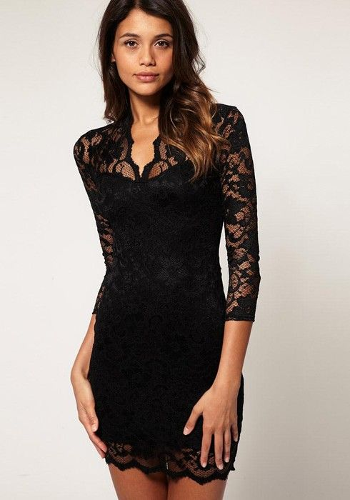 Black Band Collar Seven's Sleeve Mini Lace Dress | Lace dress ...