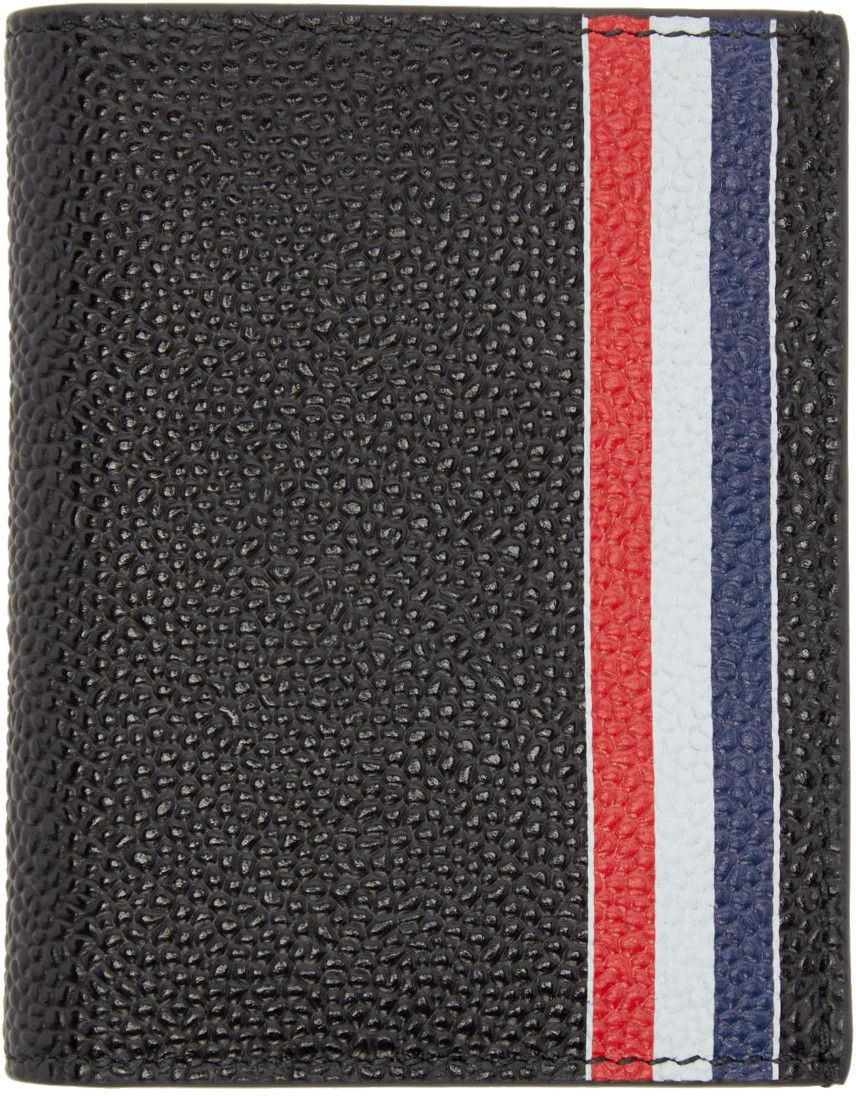 thom browne black leather double card holder - Thom Browne Card Holder