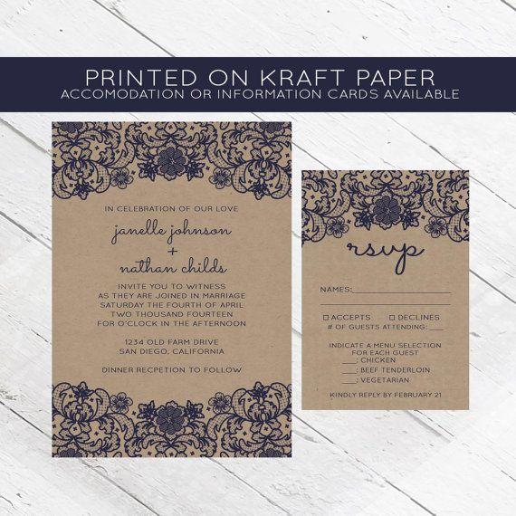 Lace Kraft Paper Wedding Invitation, Wedding Invite, navy, elegant - best of invitation wording lunch to follow