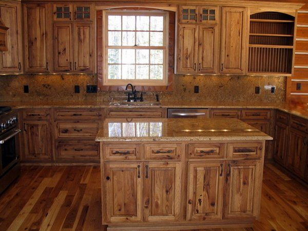 Hickory Wood Cabinets Rustic Kitchen Solid Wood Cabinets Kitchen