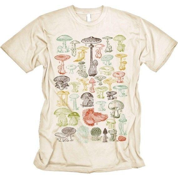 a3ffa2f257bd Mushrooms Tshirt Science Tee MENS Shirt Creme by CritterJitters, $16.99