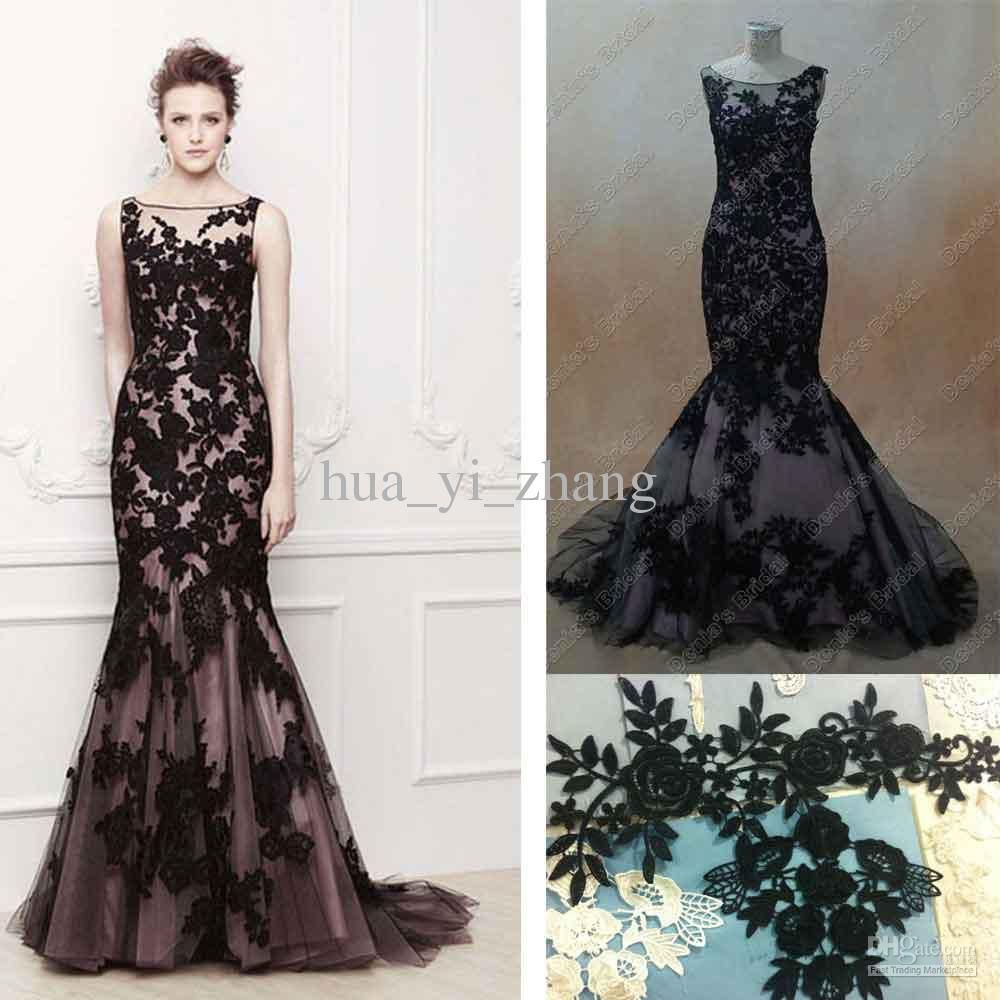 black mermaid wedding dresses modeca oriel transparent neckline