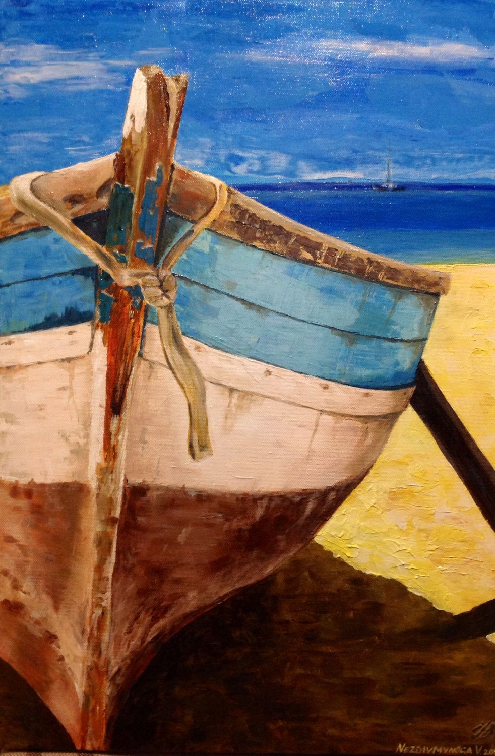 Boat on the beach original acrylic painting on canvas by