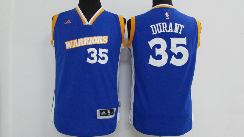 889e21e90 Warriors 35 Kevin Durant Royal Youth Stretch Crossover Swingman Jers ...