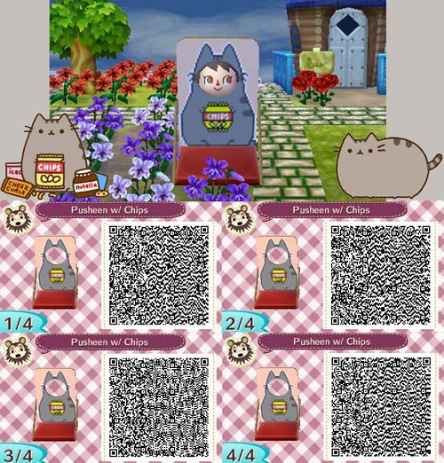 Acnl Qr Code Pusheen With Chips Standee Acnl Face Cutout Standees