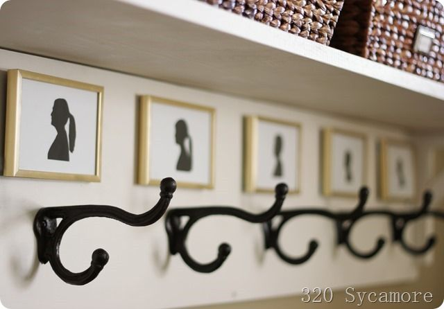 simple entryway solutions and organization - love the silhouette idea
