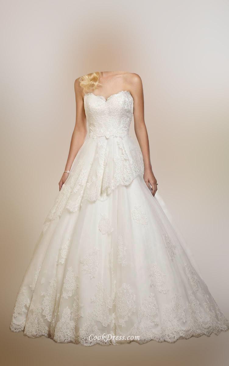 Sweetheart peplum lace wedding dress lace wedding dresses lace