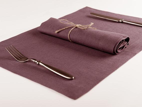 Linen table napkins or linen placemats, Set for six eggplant color cloth napkins or place mats, 2 he #clothnapkins