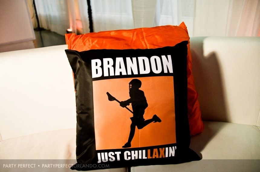 Lacrosse Bar Mitzvah » Party Perfect Custom pillows Just ChilLAXin'