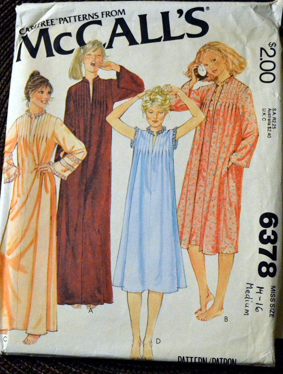 Vintage Sewing Pattern McCall's 6378 Nightgown and Robe Size medium Bust 36-38 inches  Uncut Complete by GoofingOffSewing on Etsy