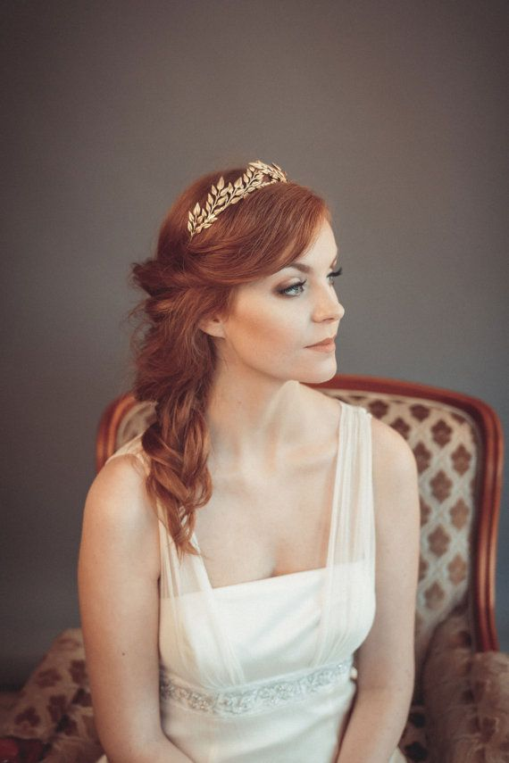 Gold leaf headband - Greek goddess headband - Grecian tiara - Wedding  headband - Bohemian head piece 71ee8145837