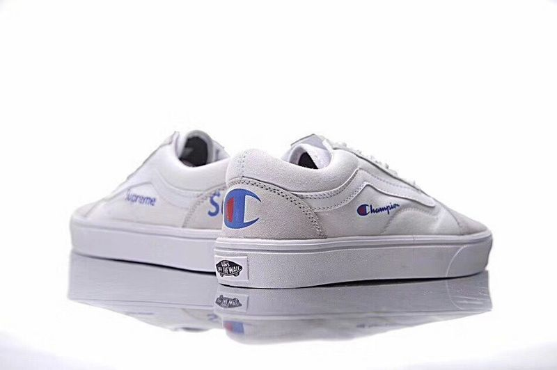 7fe1fd709659a Champion + Super Champion x supreme x Vans Old Skool Old Julian Series  Canvas Board Shoes White Blue Red 15  Vans
