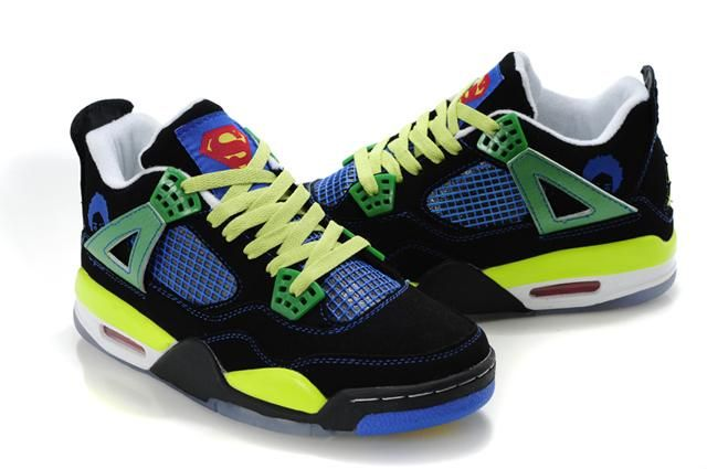 2012 Air Jordan 4 Shoes Yellow/Blue/Black/Green For Sale
