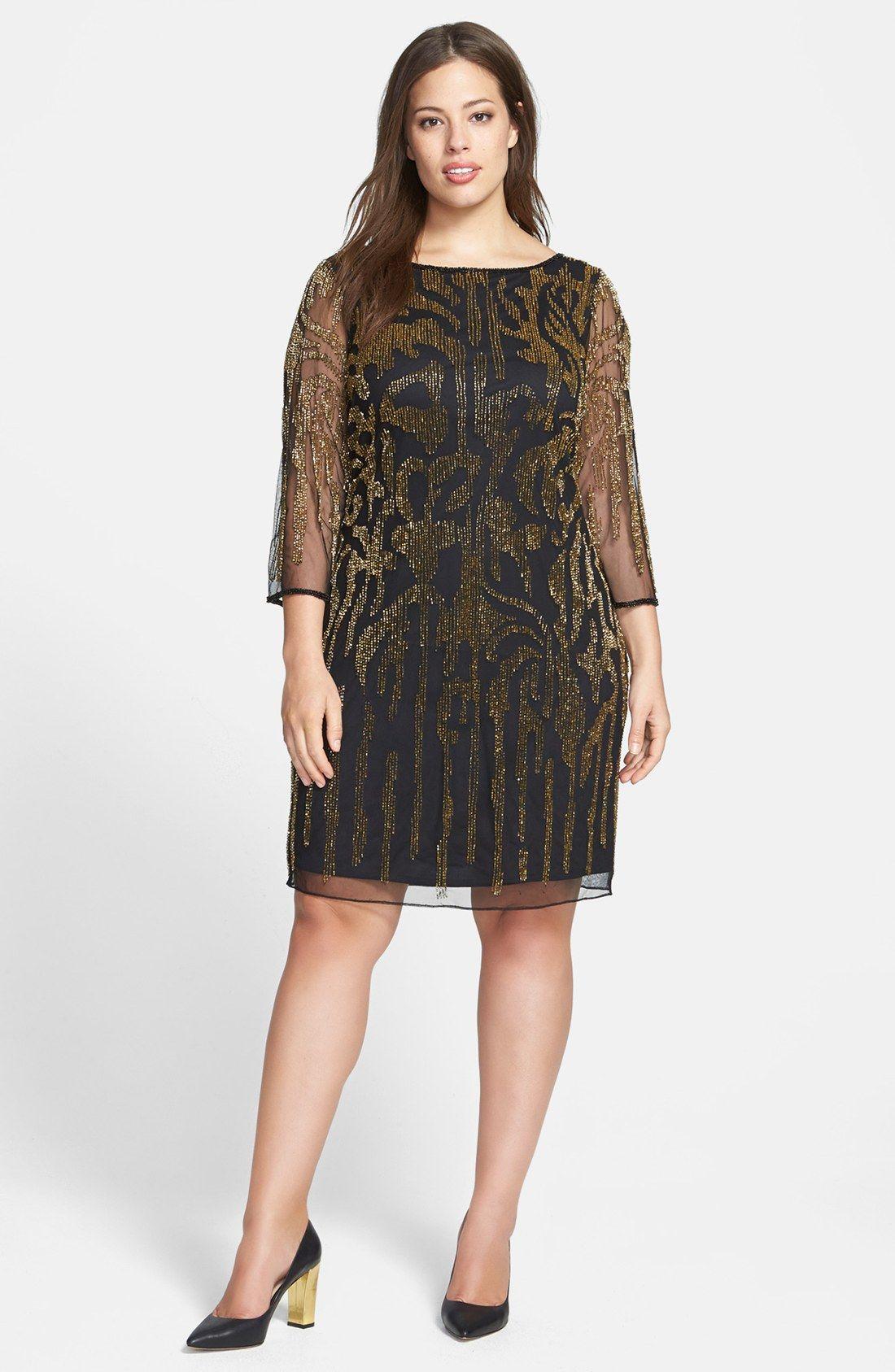 Pisarro Nights Beaded Mesh Dress (Plus Size) | Nordstrom | For mom ...